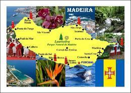 Madeira Island Map Portugal New Postcard - Madeira