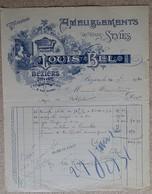 Facture Ancienne - Ameublements - Louis Bel - Béziers - 1930 - France