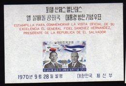 South Korea 1970 S/Sheet Mnh Visit Presidente Salvador. - Corea Del Sur