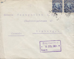 Ecuador NUNEZ & GRIMMER, GUAYAQUIL 1924 Cover Letra HAMBURG Germany 2x Garcia Moreno - Ecuador