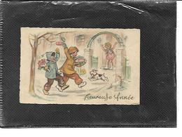 Théme-Illustrateur-Germaine BOURET-Carte Mignonnette *Bonne Année-NENETTE Recevant Ses Amis - Bouret, Germaine