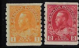 Canada 1912-24 SCOTT 126*-127* COIL CAT VALUE US $ 56.25 - Unused Stamps