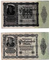2 Billets De Banques Allemagne Reichsbanknote 50000 Mark Novembre 1922 - [ 3] 1918-1933 : Repubblica  Di Weimar