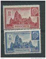 Indochine N° 222 / 23 XX  La Paire Temple D'Angkor Et Effigie Du Mal Pétain Les 2 Valeurs Sans Charnière, TB - Indochine (1889-1945)