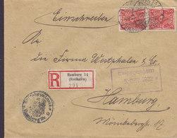 Germany Deutsches Reich ZOLLAMT Registered Einschreiben Label HAMBURG (Freihafen) 1922 Cover Brief 2x 2 M Posthorn - Allemagne