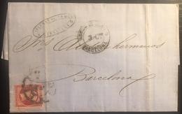 Lettre 1863 Napoleon N°24 Obliteration Espagnole Roue De Charette De Marseille Pour Barcelone + Marque 3cts - Postmark Collection (Covers)