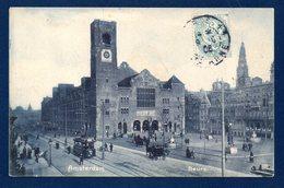 Amsterdam. Beurs. Tramway.Calèches.  Passants. 1906 - Amsterdam