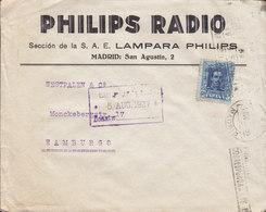 Spain PHILIPS RADIO Lampara Philips, TMS Cds. MADRID 1927 Cover Letra HAMBURG Germany Alphonse XIII. - 1889-1931 Reino: Alfonso XIII