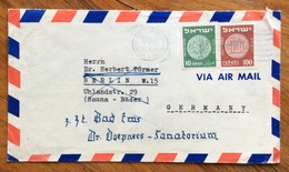 ISRAELE  10 + 100 P  COVER PAR AVION FROM  TEL AVIV  TO  GERMANY   1954 - Israele