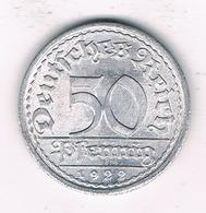 50 PFENNIG 1922 A DUITSLAND /1389/ - [ 3] 1918-1933 : Republique De Weimar