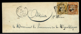 VOSGES - LSC - Tàd T15 VRECOURT (1852) + PC 3685 Sur N°1 + N° 5  (10c Bistre + 40c Orange Cérès) -> Altkirch (66) - Postmark Collection (Covers)