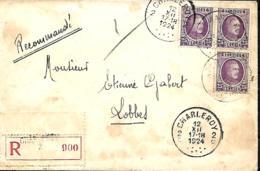TP 198 (x 3)  L. Rec. Charleroi 2 > Lobbes    Porte Fermée  1924   Taches - 1922-1927 Houyoux