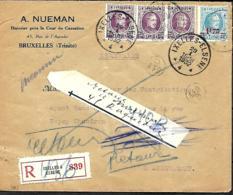 TP 198 (x 3) + 248  L. Rec.  Ixelles 4 > Anderlecht  1932  Inconnu, Retour    Plis - 1922-1927 Houyoux