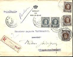 TP 193 (x 2) + 196 (x 3)  L. Rec.  Jodoigne >Grosage-lez-Beloeil   1923   Parti Pour La France, Retour - 1922-1927 Houyoux