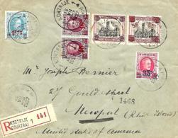 TP 182, 188, 246 (x 2), 247 + 248  L. Rec.  Kortrijk 1 > Newport (USA)  1927 - 1922-1927 Houyoux
