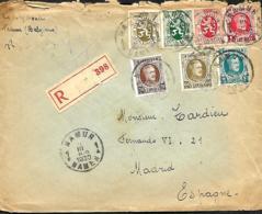 TP 196, 208, 255, 256 (déchiré), 280, 282 + 283  L. Rec.  Namur 1 > Madrid  1930  Double Port - 1922-1927 Houyoux