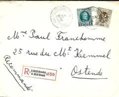 TP 208 + 280  L. Rec.  Saint-Gilles (Bxl) 1 > Oostende  1930 - 1922-1927 Houyoux
