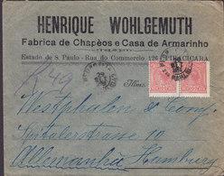 Brazil HENRIQUE WOHLGEMUTH Fabrica De Chapéos E Casa De Armarinho Registered '49' PIRACICABA 192? Cover Letra Germany - Brasil