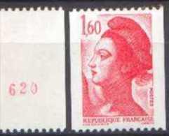 France Roulette N° 2192 A ** Liberté De Gandon - Le 1fr60 Rouge Numéro Rouge Au Verso - Rollen
