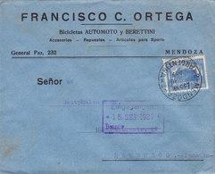 Argentina FRANCISCO C. ORTEGA Bicicletas (Bicycles, Fahrrads) AUTOMOTO Y BERETTINI, MENDOZA 1927 Cover Letra Germany - Argentinien