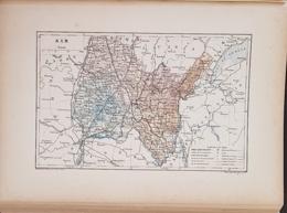 CARTE GEOGRAPHIQUE ANCIENNE: FRANCE: AIN (01) (garantie Authentique. Epoque 19 ème Siècle) - Carte Geographique