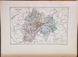 CARTE GEOGRAPHIQUE ANCIENNE: FRANCE: CANTAL(15) (garantie Authentique. Epoque 19 ème Siècle) - Carte Geographique