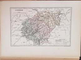 CARTE GEOGRAPHIQUE ANCIENNE: FRANCE: CORREZE(19) (garantie Authentique. Epoque 19 ème Siècle) - Carte Geographique