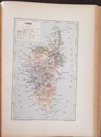 CARTE GEOGRAPHIQUE ANCIENNE: FRANCE: CORSE (20) (garantie Authentique. Epoque 19 ème Siècle) - Carte Geographique