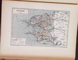 CARTE GEOGRAPHIQUE ANCIENNE: FRANCE: FINISTERE (29) (garantie Authentique. Epoque 19 ème Siècle) - Carte Geographique