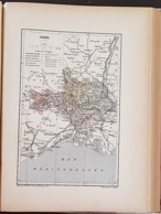 CARTE GEOGRAPHIQUE ANCIENNE: FRANCE: GARD (30) (garantie Authentique. Epoque 19 ème Siècle) - Carte Geographique