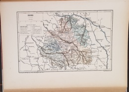 CARTE GEOGRAPHIQUE ANCIENNE: FRANCE: INDRE (36) (garantie Authentique. Epoque 19 ème Siècle) - Carte Geographique