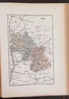 CARTE GEOGRAPHIQUE ANCIENNE: FRANCE: ISERE (38) (garantie Authentique. Epoque 19 ème Siècle) - Carte Geographique