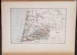 CARTE GEOGRAPHIQUE ANCIENNE: FRANCE: LANDES (40) (garantie Authentique. Epoque 19 ème Siècle) - Cartes Géographiques