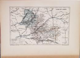 CARTE GEOGRAPHIQUE ANCIENNE: FRANCE: LOIR ET CHER (41) (garantie Authentique. Epoque 19 ème Siècle) - Carte Geographique