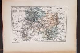 CARTE GEOGRAPHIQUE ANCIENNE: FRANCE: MAINE (51) (garantie Authentique. Epoque 19 ème Siècle) - Carte Geographique