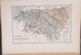 CARTE GEOGRAPHIQUE ANCIENNE: FRANCE: BASSES PYRENNES (64) (garantie Authentique. Epoque 19 ème Siècle) - Carte Geographique