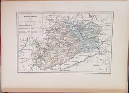 CARTE GEOGRAPHIQUE ANCIENNE: FRANCE: HAUTE SAONE (70) (garantie Authentique. Epoque 19 ème Siècle) - Cartes Géographiques