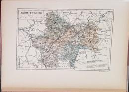 CARTE GEOGRAPHIQUE ANCIENNE: FRANCE: SAONE ET LOIRE (71) (garantie Authentique. Epoque 19 ème Siècle) - Cartes Géographiques