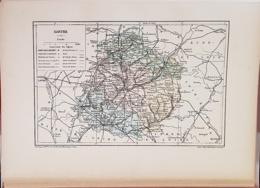 CARTE GEOGRAPHIQUE ANCIENNE: FRANCE: SARTHE (72) (garantie Authentique. Epoque 19 ème Siècle) - Carte Geographique