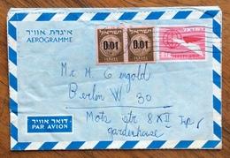 ISRAELE  AEROGRAMME 0,18 + 0.01 Pair  TO BERLIN    1960 - Israele