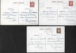 3 Cartes Entier Postal Pétain 1942  De Paris à Avignon - Vaucluse - Postal Stamped Stationery