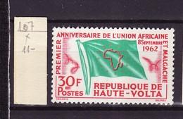 Haute Volta - Obervolta - Upper Volta 1962 Y&T N°107 - Michel N°111 * - 30f Union Africaine Et Malgache - Haute-Volta (1958-1984)