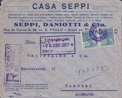 Brazil CASA SEPPI Registered Certificada SAO PAULO 1927 Cover Letra HAMBURG (Arr. Cds.) Germany Hermes & Globe - Brasil