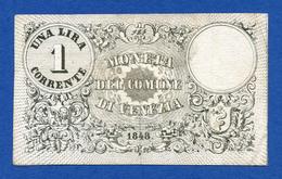 Italy - Venezia 1 Lira Corrente 1848 Governo Provvisorio R2 PS192 BB~SPL - [ 1] …-1946 : Regno