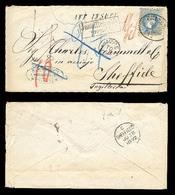 AUSTRIA. 1872. Triest / UK. 10kr. Blue Coarse Print. Insuff. Prepaid With Proper Due Marks + Taxings. Envelope + Stamp T - Austria