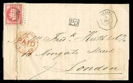 VENEZUELA. 1868 (4 Dec). La Guayra / UK. French Maritime. EL. Fkd. 80c. Anchor Cancel, Octagonal Consular Paquebot Along - Venezuela