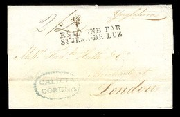 E-PROVINCIAS. 1828. CORUÑA A Londres. Vía Terrestre. Carta Con Marca Oval Azul + 2sh / 2d. - Spain