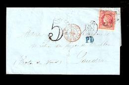 E-PROVINCIAS. 1861. 53º. BILBAO A Francia. Rueda De Carreta 20. Bonita. - Unclassified