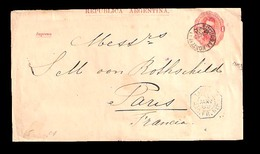"ARGENTINA. 1888. Bs. Aieres. / Norte / France. 1c. Red Stat Wrapper + Blue Octagonal ""Ligne J./ Pq. Fr. Nº5"". (xx). Scar - Argentina"