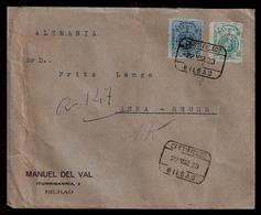 E-ALFONSO XIII. 1923. 275º, 277º. Bilbao / Alemania. Sobre Certificao. Precioso. - Unclassified